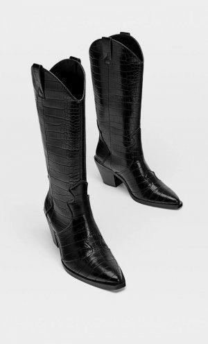 Сапоги В Ковбойском Стиле С Тиснением Под Крокодиловую Кожу Женская Коллекция Черный 39 Stradivarius. Цвет: черный