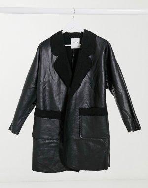 Черное пальто с подкладкой из искусственного меха -Черный Elvi