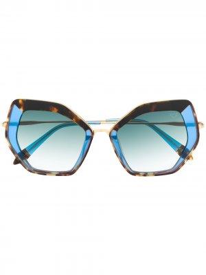 Солнцезащитные очки в массивной оправе черепаховой расцветки Spektre. Цвет: синий