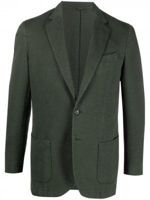 Delloglio однобортный пиджак строгого кроя Dell'oglio. Цвет: зеленый
