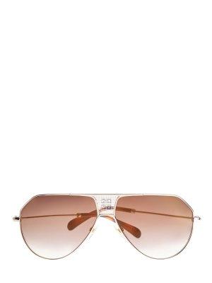 Солнцезащитные очки в золотистой оправе «авиатор» GIVENCHY (sunglasses). Цвет: коричневый