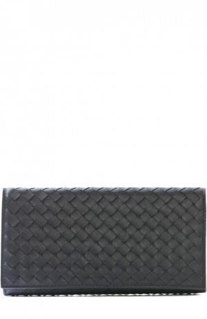 Кожаное портмоне с плетением intrecciato Bottega Veneta. Цвет: чёрный