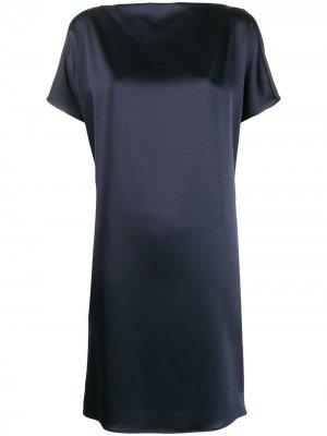 Платье с короткими рукавами и драпировкой Gianluca Capannolo. Цвет: синий