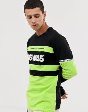 Черный лонгслив K-Swiss