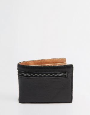 Кожаный бумажник Jack & Jones. Цвет: черный