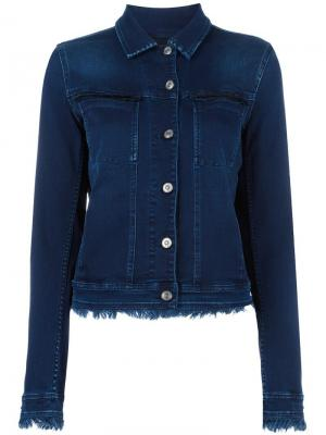 Джинсовая куртка с бахромой 7 For All Mankind. Цвет: синий