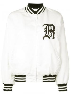 Дутая куртка-бомбер R13. Цвет: белый