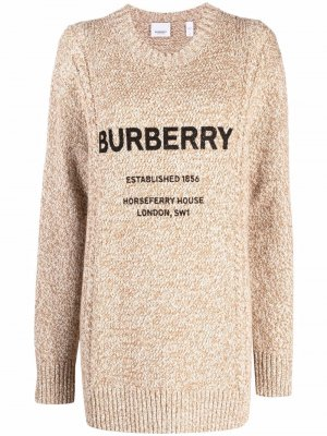 Джемпер фактурной вязки с принтом Horseferry Burberry. Цвет: нейтральные цвета