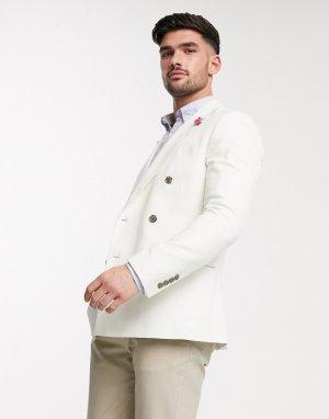 Двубортный пиджак узкого кроя -Белый Gianni Feraud