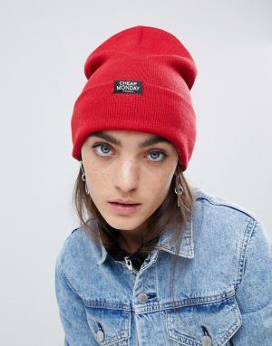Красная шапка-бини Cheap Monday. Цвет: красный