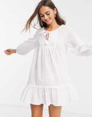 Белая пляжная туника с вышивкой ришелье -Белый New Look