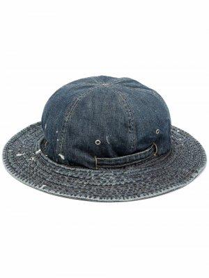 Джинсовая шляпа с эффектом потертости Neighborhood. Цвет: синий