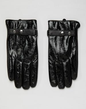 Черные кожаные перчатки с виниловым эффектом -Черный ASOS DESIGN