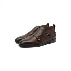 Кожаные ботинки Santoni. Цвет: коричневый