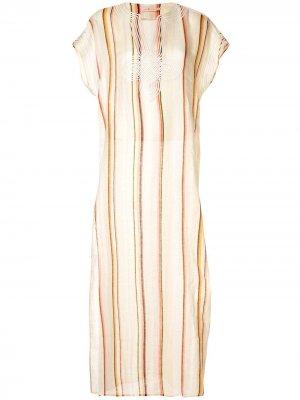 Платье-туника в полоску Tory Burch. Цвет: разноцветный