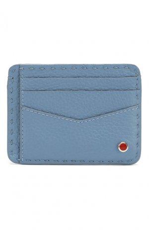 Кожаный футляр для кредитных карт Kiton. Цвет: синий
