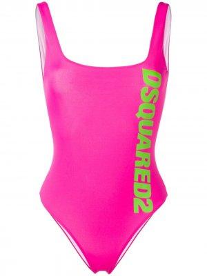 Слитный купальник с принтом логотипа Dsquared2. Цвет: розовый