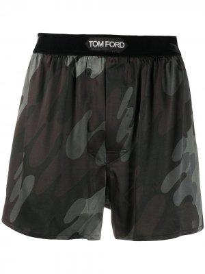 Боксеры с камуфляжным принтом Tom Ford. Цвет: серый