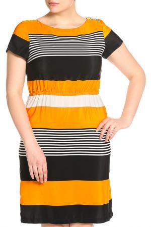 Платье Glamour. Цвет: черно-оранжевый