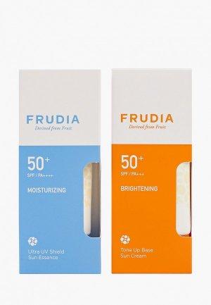 Набор для ухода за лицом Frudia Cолнцезащитный, Крем-основа SPF50+/PA+++ и Крем-эссенция SPF50+/PA++++, 2х50 мл. Цвет: прозрачный