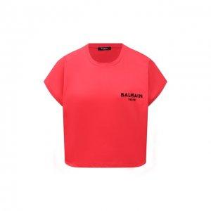 Хлопковая футболка Balmain. Цвет: красный