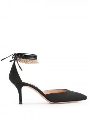 Туфли с завязками на щиколотке Gianvito Rossi. Цвет: черный