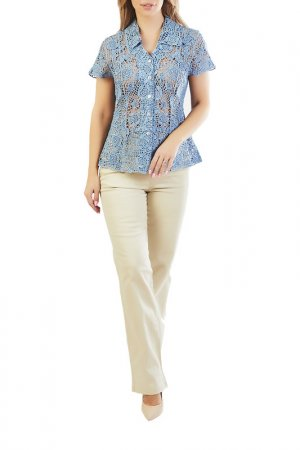 Блуза LAFEI-NIER. Цвет: голубой