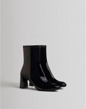 Черные лакированные полусапожки на каблуке -Черный цвет Bershka