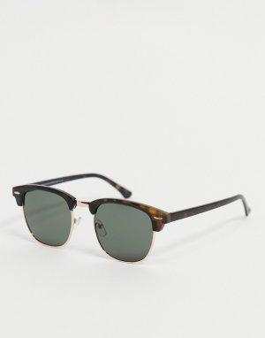 Квадратные солнцезащитные очки в стиле ретро черепаховой оправе -Коричневый цвет New Look