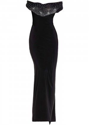 Платье со стразами bonprix. Цвет: черный