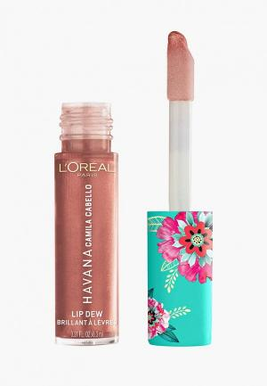 Блеск для губ LOreal Paris L'Oreal Lip Dew в эксклюзивной коллекции Havana от L'Oreal x Camila Cabello, оттенок 04, Lit Up. Цвет: коричневый
