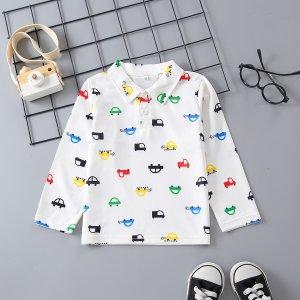 Рубашка-поло с узором машины для мальчиков SHEIN. Цвет: белый