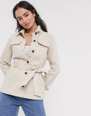 Куртка в стиле милитари с поясом -Белый Ichi