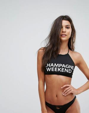 Бикини-топ Champagne Chaser. Цвет: черный
