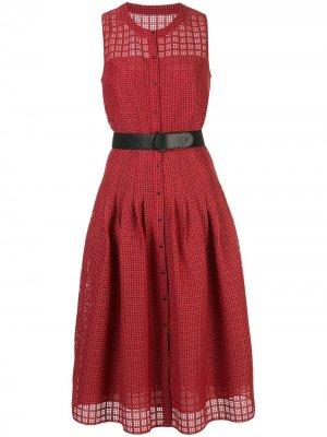 Платье с вырезами и поясом Akris Punto. Цвет: красный