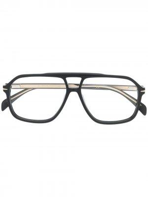 Солнцезащитные очки-авиаторы с двойным мостом Eyewear by David Beckham. Цвет: черный