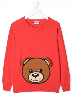 Джемпер Teddy Bear вязки интарсия Moschino Kids. Цвет: красный