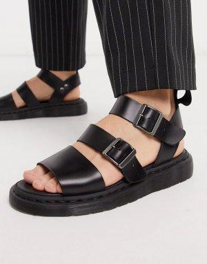Черные сандалии с ремешками -Черный Dr Martens