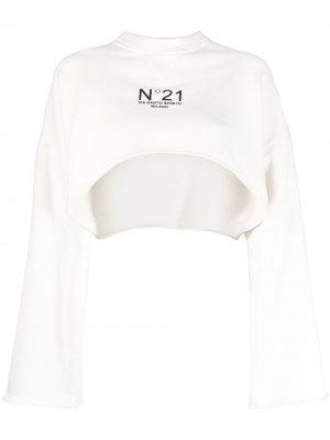 Укороченная толстовка с логотипом Nº21. Цвет: белый