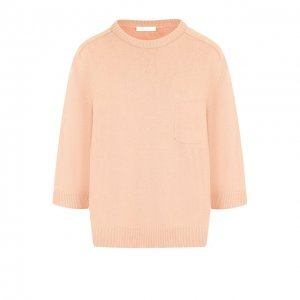 Кашемировый пуловер с укороченным рукавом и накладным карманом Chloé. Цвет: розовый