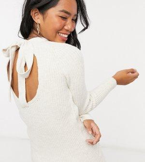 Вязаное платье мини Petite бежевого цвета с бантом на спине-Белый Miss Selfridge