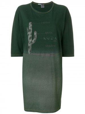 Платье футболка с принтом Krizia Pre-Owned. Цвет: зеленый