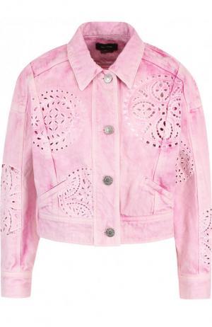 Укороченная джинсовая куртка с перфорацией Isabel Marant. Цвет: розовый