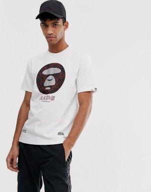 Белая футболка с логотипом AAPE By A Bathing Ape 3M. Цвет: белый