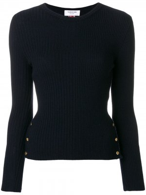 Пуловер в рубчик с полосками Thom Browne. Цвет: синий