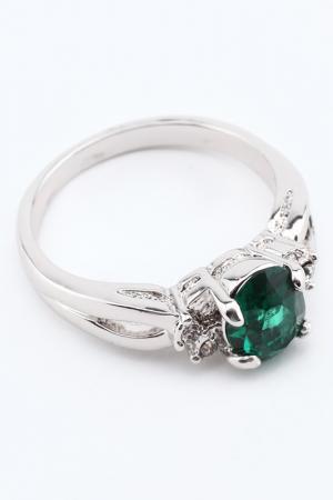 Кольцо Slava Zaitsev. Цвет: серебро, зелёный