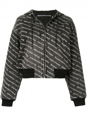 Куртка-бомбер с капюшоном Alexander Wang. Цвет: серый