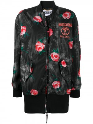 Бомбер с цветочным принтом Moschino. Цвет: черный