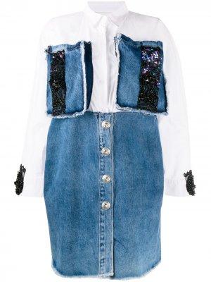 Декорированное джинсовое платье-рубашка Loulou. Цвет: белый