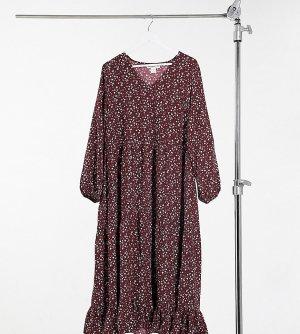 Свободное бордовое платье макси с запахом и цветочным принтом -Красный Glamorous Curve